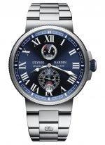 Мужские наручные часы Ulysse Nardin Marine-1183-122-7M/43 с индикатором запаса хода и датой в стальном корпусе, на синем циферблателюминесцентные римские цифры и стрелки, стальной браслет.