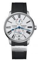 Мужские наручные часы Ulysse Nardin Marine-1183-310-3/40 с индикатором запаса хода в стальном корпусе, на белоснежном циферблате черные римские цифры, вороненные стрелки, черный каучук.