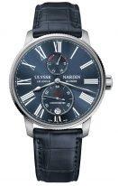 Мужские наручные часы Ulysse Nardin Marine-1183-310/43 с индикатором запаса хода в стальном корпусе, на синем циферблате люминесцентные римские цифры и стрелки, синий кроко.