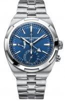 Мужские спортивные часы Vacheron Constantin Overseas 7900V_110A_B334 в стальном корпусе со временем второго часового пояса, датой и индикацией день/ночь, синий циферблат, стальной браслет.