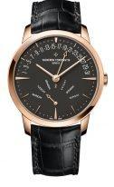 Мужские классические часы Vacheron Constantin Patrimony 4000U_000R_B111 в розовом золоте с ретроградными указателями дня недели и даты, темно-серый циферблат, ремешок кроко.