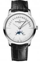 Мужские классические часы Vacheron Constantin Patrimony 4010U_000G_B330 с ретроградной датой и фазами Луны в белом золоте, серебристый циферблат, черная кожа кроко.