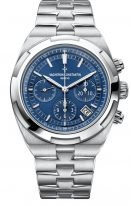 Мужские спортивные часы Vacheron Constantin Overseas 5500V_110A_B148 в стальном корпусе, хронограф с датой, синий циферблат, в наборе три ремешка (кожа кроко, каучук, стальной браслет)