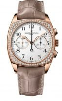 Женские классические часы Vacheron Constantin Harmony-5005S_000R_B139 в розовом золоте с бриллиантовым рантом, хронограф, светлый циферблат с золотыми стрелками, коричневая кожа кроко.