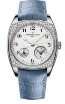 Женские классические часы Vacheron Constantin Harmony 7805S_000G_B155 в белом золоте с бриллиантовым рантом, время второго часового пояса, светлый циферблат, ремешок кроко.