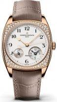 Женские классические часы Vacheron Constantin Harmony 7805S_000R_B140 в розовом золоте с бриллиантами, время второго часового пояса с индикатором день/ночь, светлый циферблат, ремешок кроко.