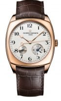 Мужские классические часы в форме подушки Vacheron Constantin Harmony-7810S_000R_B141 хронограф в розовом золоте, время второго часового пояса с индикатором день/ночь, светлый циферблат, коричневый ремешок кроко.