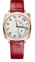 """Женские классические часы в форме """"подушки"""" Vacheron Constantin Historiques-1100S_000R_B430 в розовом золоте, циферблат светлый с маленькой секундной стрелкой, ремешок кроко бардо."""