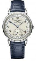 Мужские классические часы Vacheron Constantin Historiques-3110V_000A_B426 в стальном корпусе с годовым календарем, серебристый циферблат, ремешок кроко синего цвета.