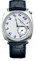 Мужские классические часы Vacheron Constantin Historiques 82035_000P_B168 в платиновом корпусе, светлый циферблат с маленькой секундной стрелкой, синий ремешок кроко.