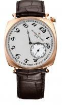 """Мужские классические часы Vacheron Constantin Historiques 82035_000R_9359 в розовом золоте, часы в форме """"подушки"""", светлый циферблат с маленькой секундной стрелкой, коричневая кожа кроко."""