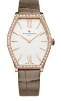 """Женские классические часы Vacheron Constantin Malte-25530_000R_9742 в розовом золоте, форма """"бочка"""", светлый циферблат, коричневый ремешок кроко."""