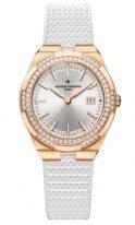 Женские спортивные часы Vacheron Constantin Overseas 1205V_000R_B592 в розовом золоте с бриллиантовым рантом, светлый циферблат, каучуковый ремешок.