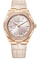 Женские спортивные часы Vacheron Constantin Overseas 2305V_000R_B077 в розовом золоте с бриллиантовым рантом, маленькая секундная стрелка, розовый циферблат, два браслета в наборе: кожа и каучук.