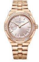 Женские спортивные часы Vacheron Constantin Overseas 2305V_100R_B077 в розовом золоте с бриллиантовым рантом, маленькая секундная стрелка, бежевый циферблат, браслет из розового золота.