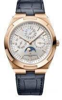 Мужские спортивные часы Vacheron Constantin Overseas-4300V_000R_B064 в розовом золоте с вечным календарем, фазами Луны, серебристый циферблат, в наборе два вида браслетов: кожа кроко, каучук.
