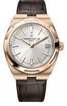 Мужские спортивные часы Vacheron Constantin Overseas-4500V_000R_B127 в розовом золоте, с датой, с серебристым циферблатом, в наборе два ремешка: кожа кроко и каучук.