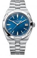 Мужские спортивные часы Vacheron Constantin Overseas-4500V_110A_B128 в стальном корпусе с датой, синий циферблат, в наборе идут три браслета: кожа, каучук, стальной браслет.