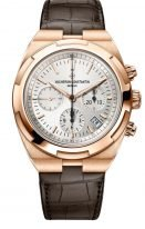 Мужские спортивные часы Vacheron Constantin Overseas-5500V_000R_B074 в розовом золоте, с хронографом и датой, с серебристым циферблатом, два браслета в наборе: кожа кроко и каучук.