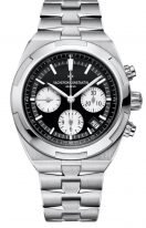 Мужские спортивные часы Vacheron Constantin Overseas-5500V_110A_B481 в стальном корпусе хронограф с датой, черный циферблат с белыми счетчиками, в наборе три браслета: кожа кроко, каучук, стальной браслет.