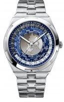 Мужские спортивные часы Vacheron Constantin Overseas-7700V_110A_B172 в стальном корпусе с функцией мирового времени, серебристо-голубой циферблат, в наборе идут три браслета: кожа кроко, каучук и стальной браслет.