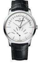 Мужские классические часы Vacheron Constantin Patrimony-4000U_000G_B112 в белом золоте с ретроградной датой и днем недели, серебристый циферблат, кожа кроко.