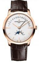 Мужские классические часы Vacheron Constantin Patrimony 4010U_000R_B329 в розовом золоте, с фазами Луны и ретроградной датой, серебристый циферблат, коричневая кожа кроко.