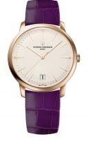 Женские классические часы Vacheron Constantin Patrimony-4100U_001R_B180 с датой в розовом золоте, с опаловым циферблатом, фиолетовой кожей кроко.
