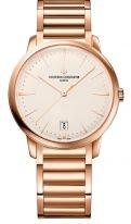 Женские классические часы Vacheron Constantin Patrimony-4100U_110R_B180 с датой и маленькой секундной стрелкой в розовом золоте, опаловый циферблат, браслет из розового золота.