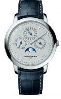 Мужские классические часы Vacheron Constantin Patrimony-43175_000P_B190 вечный календарь с фазами Луны в платиновом корпусе, светлый циферблат, ремешок кроко, лимитированная серия.