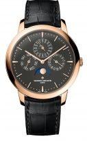 Мужские классические часы Vacheron Constantin Patrimony-43175_000R_B343 с вечным календарем и фазами Луны в розовом золоте, темный циферблат, кожа кроко.