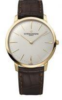 Мужские классические часы Vacheron Constantin Patrimony-81180_000J_9118 ультратонкие в желтом золоте, светлый циферблат, коричневая кожа кроко.