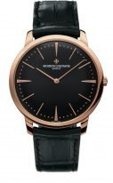 Мужские классические часы Vacheron Constantin Patrimony-81180_000R_9283 ультратонкие в розовом золоте с черным циферблатом, ремешок кроко, бутиковая модель.