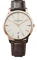 Мужские классические часы Vacheron Constantin Patrimony-85180_000R_9248 с датой в розовом золоте, светлый циферблат, коричневая кожа кроко.