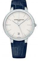 Женские классические часы Vacheron Constantin Patrimony-85515_000G_9841 в белом золоте с бриллиантовым рантом, серебристый циферблат, синяя кожа кроко.