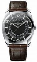 Мужские классические часы Vacheron Constantin Quai De Lile 4500S_000A_B196 в стальном корпусе с датой, черный циферблат, коричневая кроко и каучук.