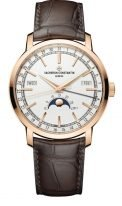 Мужские классические часы Vacheron Constantin Traditionnelle-4010T_000R_B344 в розовом золоте, годовой календарь с фазами Луны, светлый циферблат, коричневая кожа кроко.