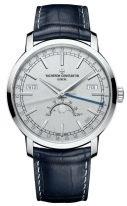 Мужские классические часы Vacheron Constantin Traditionnelle 4010T_000P_B345 в платиновом корпусе, годовой календарь с фазами Луны, светлый циферблат, синий кроко.