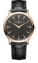 Мужские классические часы Vacheron Constantin Traditionnelle-43075_000R_B404 в розовом золоте, с черным циферблатом, черная кожа кроко.