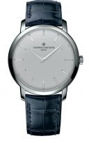 Мужские классические часы Vacheron Constantin Traditionnelle-43076_000P_9875 в платиновом корпусе с серым циферблатом, синяя кожа кроко.