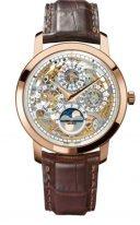 Мужские классические часы Vacheron Constantin Traditionnelle-43172/000R_9241 в розовом золоте, с вечным календарем и фазами Луны, скелетированный циферблат, коричневая кожа кроко.