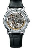 Мужские/женские классические часы Vacheron Constantin Traditionnelle-43178_000G_9393 в белом золоте, скелетированный циферблат, черная кожа кроко