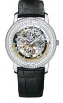 Мужские/женские классические часы Vacheron Constantin Traditionnelle-43578_000G_9393 в белом золоте с бриллиантовым рантом, скелетированный циферблат, кожа кроко.
