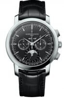 Мужские классические часы Vacheron Constantin Traditionnelle-5000T_000P_B048 в платиновом корпусе, вечный календарь с хронографом и фазами Луны, черный циферблат, черная кожа кроко.