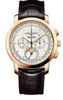 Мужские классические часы Vacheron Constantin Traditionnelle-5000T_000R_B304 в розовом золоте, вечный календарь с хронографом, с фазами Луны, серебристый циферблат, коричневая кроко.