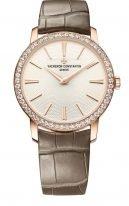 Женские классические часы Vacheron Constantin Traditionnelle-81590_000R_9849 в розовом золоте с опаловым циферблатом, часы и минуты, коричневая кожа кроко.
