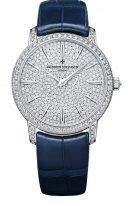 Женские классические часы Vacheron Constantin Traditionnelle-81591_000G_9913 в белом золоте с бриллиантовым рантом и циферблатом, синяя кожа кроко.