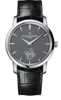 Мужские классические часы Vacheron Constantin Traditionnelle-82172_000P_9811 в платиновом корпусе, с серым циферблатом, черная кожа кроко.