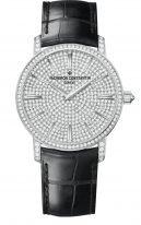 Мужские/женские часы классические Vacheron Constantin Traditionnelle-82673_000G_9821 в белом золоте с бриллиантовым рантом и циферблатом, черная кожа кроко.