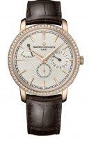 Мужские/женские классические часы Vacheron Constantin Traditionnelle-83520_000R_9909 в розовом золоте с бриллиантовым рантом, с запасом хода и фазами Луны, гильошированным циферблатом, коричневым ремешком кроко.